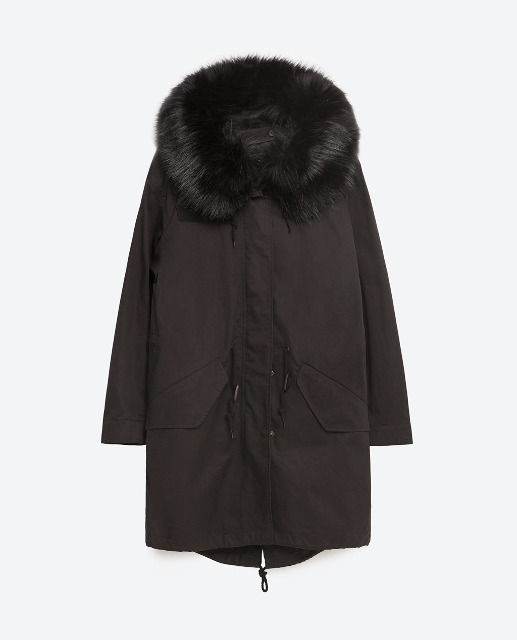 Oversized Parka - pattern: plain; collar: funnel; style: parka; length: mid thigh; predominant colour: black; occasions: casual, creative work; fit: straight cut (boxy); fibres: cotton - 100%; sleeve length: long sleeve; sleeve style: standard; collar break: high/illusion of break when open; pattern type: fabric; texture group: woven light midweight; embellishment: fur; season: s/s 2016; wardrobe: highlight