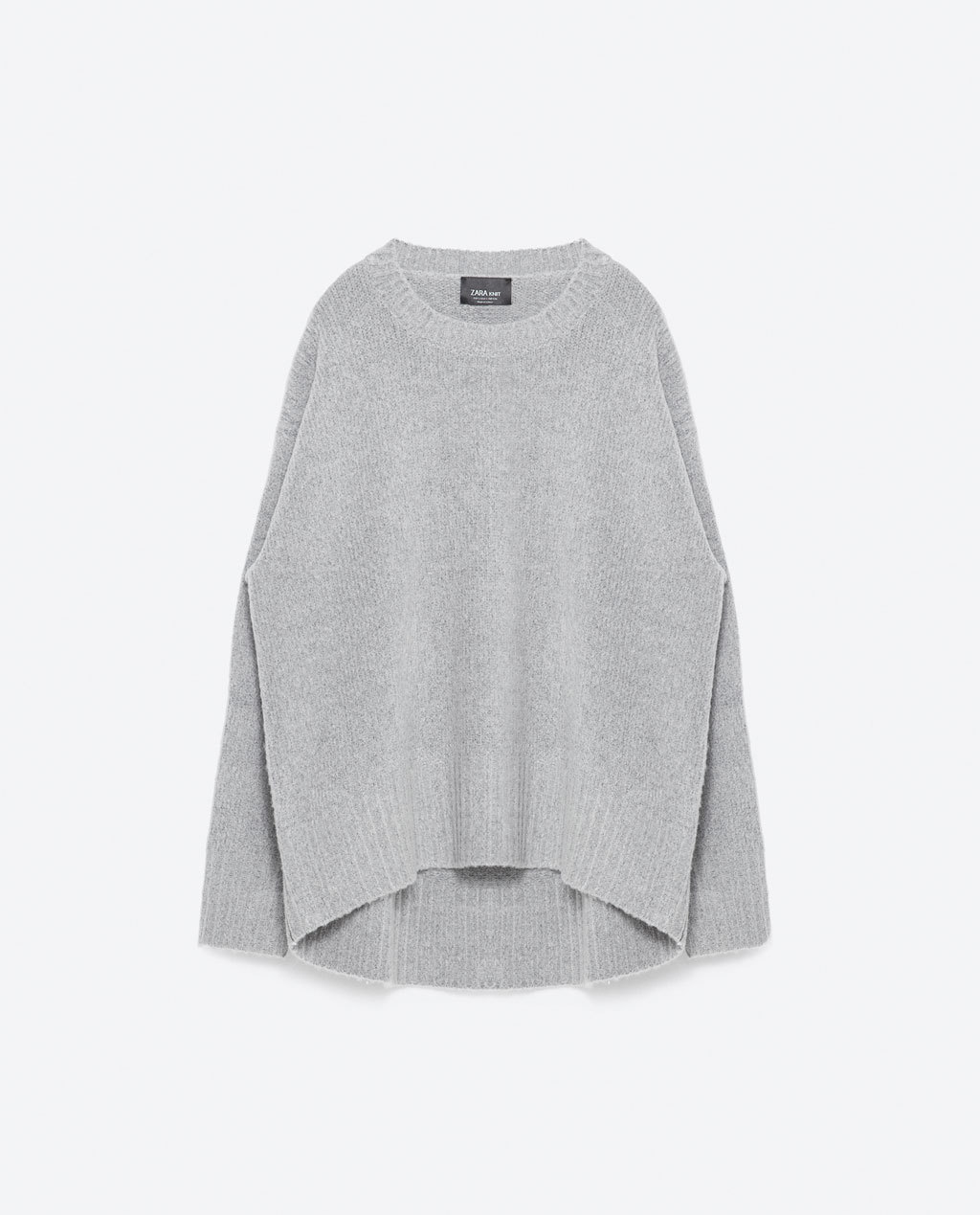Oversized Sweater - sleeve style: dolman/batwing; pattern: plain; length: below the bottom; style: standard; predominant colour: light grey; occasions: casual; fibres: acrylic - mix; fit: loose; neckline: crew; sleeve length: long sleeve; texture group: knits/crochet; pattern type: knitted - fine stitch; season: s/s 2016