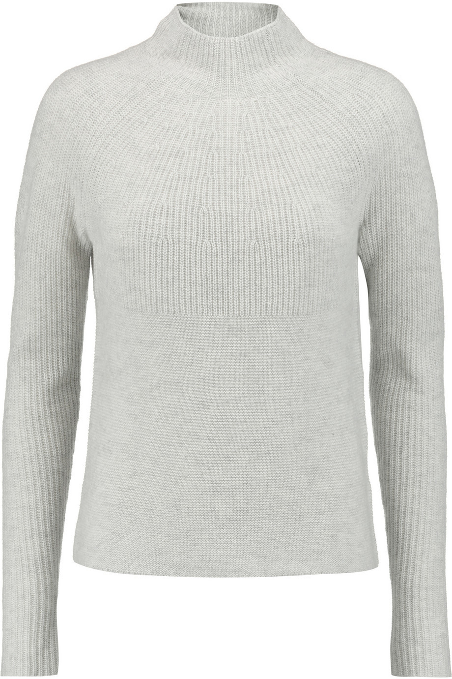 Ribbed Cashmere Sweater Stone - pattern: plain; neckline: high neck; style: standard; predominant colour: light grey; occasions: casual; length: standard; fit: slim fit; fibres: cashmere - 100%; sleeve length: long sleeve; sleeve style: standard; texture group: knits/crochet; pattern type: fabric; season: s/s 2016; wardrobe: investment