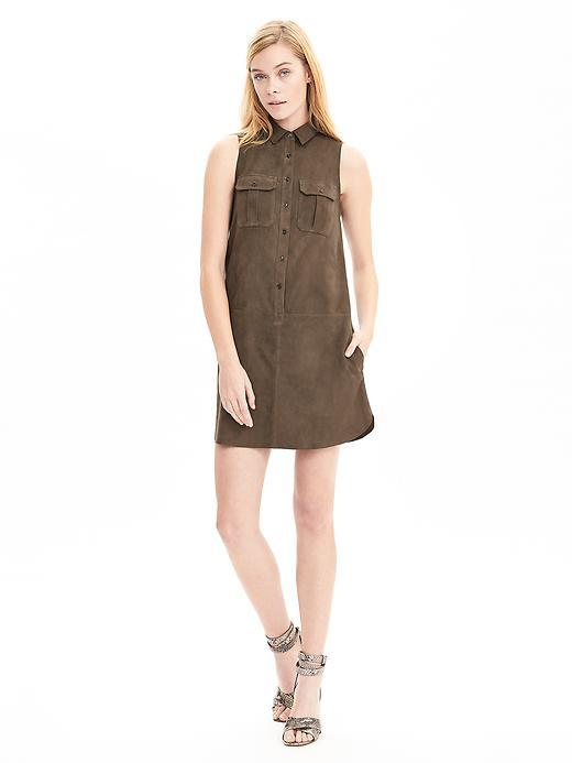 Heritage Suede Safari Dress Fresh Olive - style: shirt; length: mini; neckline: shirt collar/peter pan/zip with opening; pattern: plain; sleeve style: sleeveless; predominant colour: khaki; occasions: casual, creative work; fit: straight cut; fibres: linen - 100%; sleeve length: sleeveless; bust detail: bulky details at bust; pattern type: fabric; texture group: suede; season: s/s 2016; wardrobe: highlight