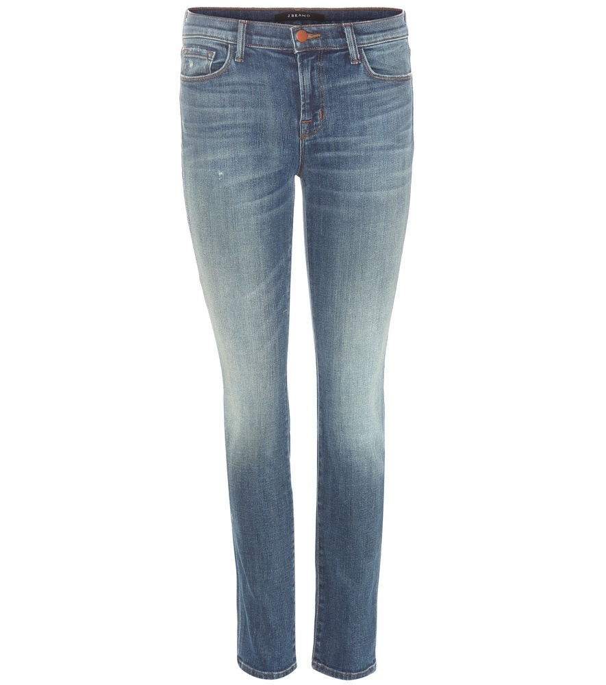 Mid Rise Skinny Jeans - style: skinny leg; length: standard; pattern: plain; pocket detail: traditional 5 pocket; waist: mid/regular rise; predominant colour: denim; occasions: casual; fibres: cotton - stretch; jeans detail: whiskering, shading down centre of thigh; texture group: denim; pattern type: fabric; season: s/s 2016; wardrobe: basic