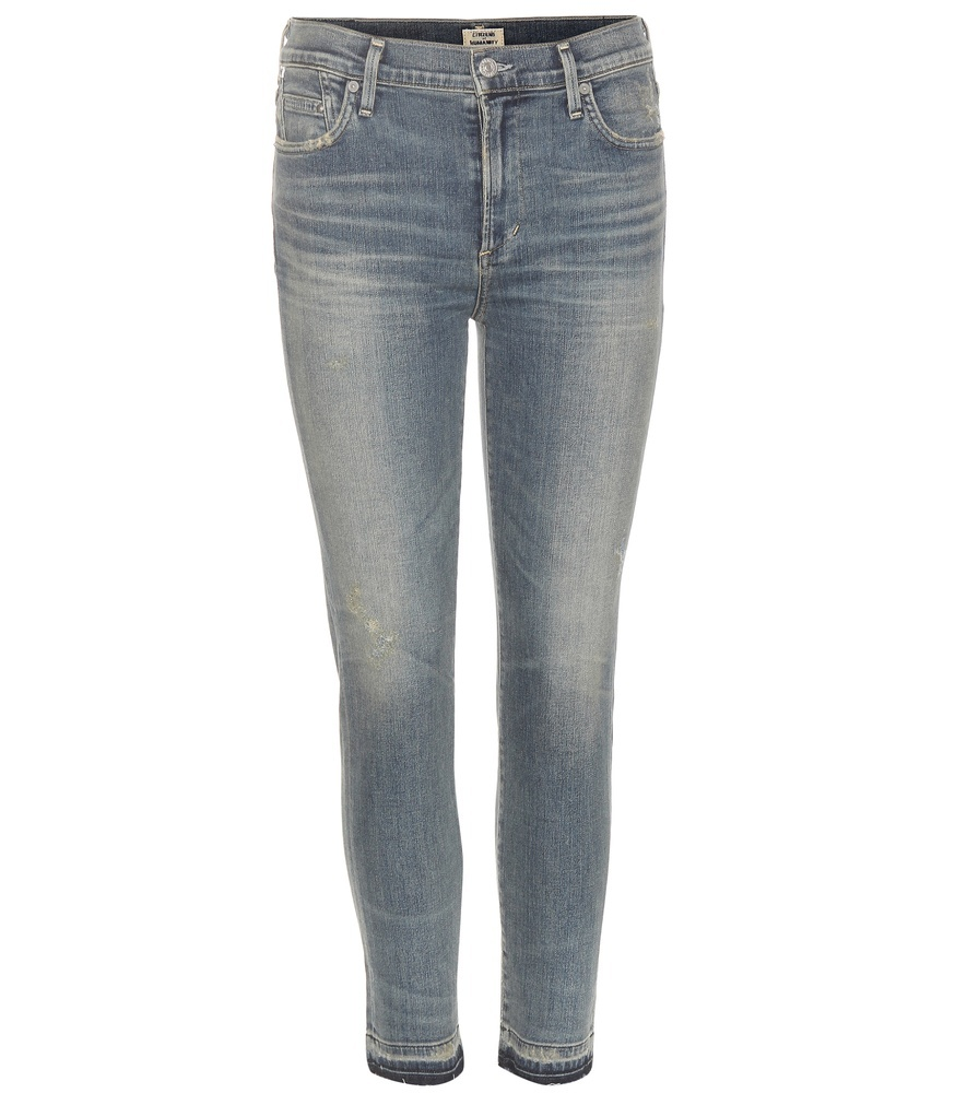 Rocket High Rise Skinny Jeans - style: skinny leg; length: standard; pattern: plain; waist: high rise; pocket detail: traditional 5 pocket; predominant colour: denim; occasions: casual; fibres: cotton - stretch; jeans detail: whiskering, shading down centre of thigh; texture group: denim; pattern type: fabric; season: s/s 2016; wardrobe: basic