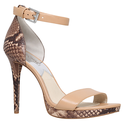 Sienna Ankle Strap Stiletto Heeled Sandals - predominant colour: nude; occasions: evening, occasion; material: leather; ankle detail: ankle strap; heel: stiletto; toe: open toe/peeptoe; style: standard; finish: plain; pattern: animal print; heel height: very high; season: a/w 2015; wardrobe: event