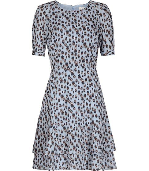 Jules Printed Dress - length: mid thigh; predominant colour: pale blue; secondary colour: black; occasions: casual, creative work; fit: fitted at waist & bust; style: fit & flare; fibres: polyester/polyamide - 100%; neckline: crew; hip detail: subtle/flattering hip detail; sleeve length: short sleeve; sleeve style: standard; pattern type: fabric; pattern size: standard; pattern: patterned/print; texture group: woven light midweight; season: s/s 2016; wardrobe: highlight