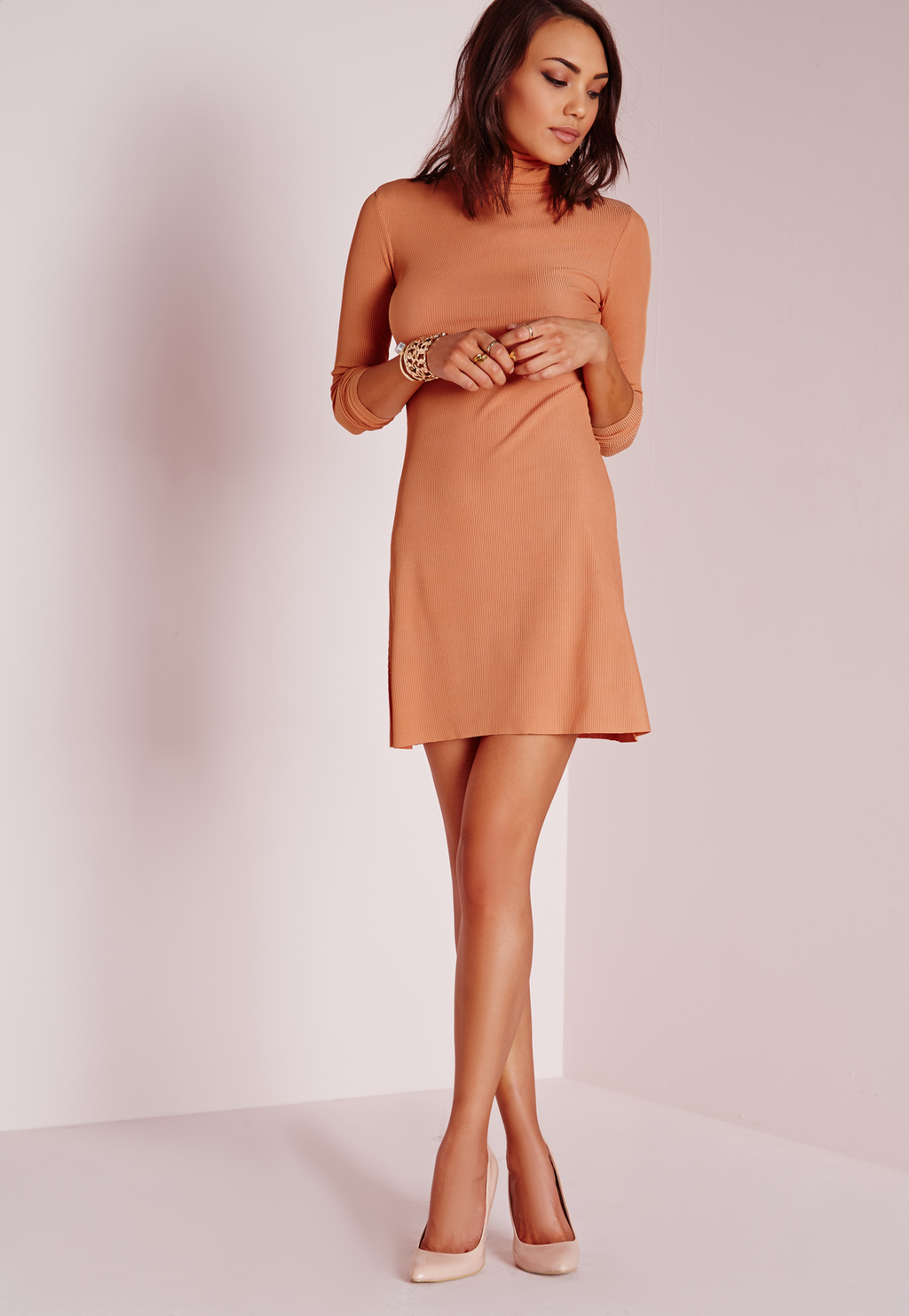 Roll Neck Ribbed Dress Salmon, Salmon - length: mid thigh; pattern: plain; neckline: high neck; predominant colour: camel; occasions: casual; fit: fitted at waist & bust; style: fit & flare; fibres: polyester/polyamide - stretch; sleeve length: 3/4 length; sleeve style: standard; pattern type: fabric; texture group: jersey - stretchy/drapey; season: s/s 2016; wardrobe: basic