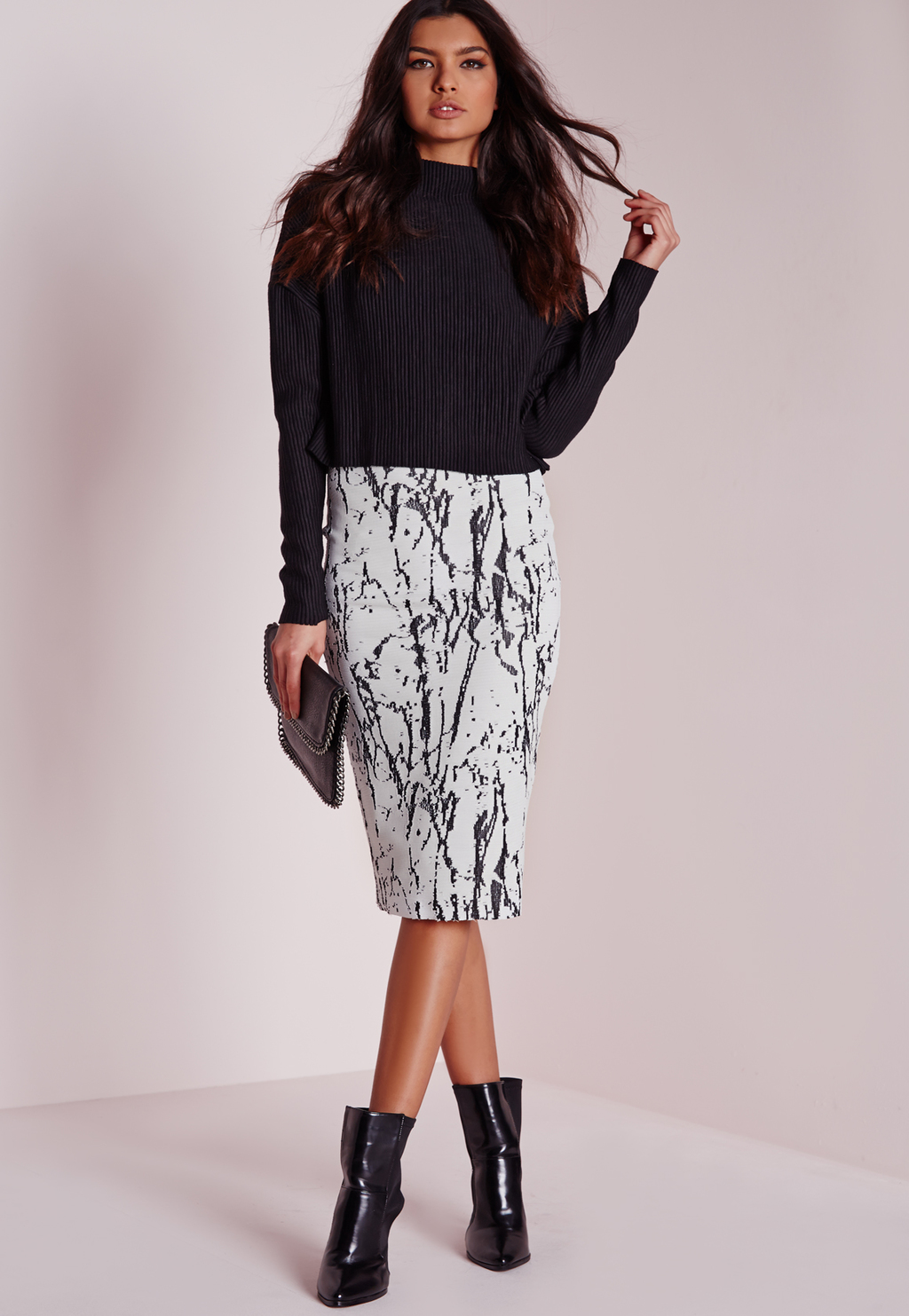 Marble Midi Skirt, White - length: below the knee; style: pencil; fit: tight; waist: mid/regular rise; predominant colour: white; secondary colour: mid grey; occasions: evening; fibres: viscose/rayon - stretch; texture group: jersey - clingy; pattern type: fabric; pattern: patterned/print; multicoloured: multicoloured; season: s/s 2016