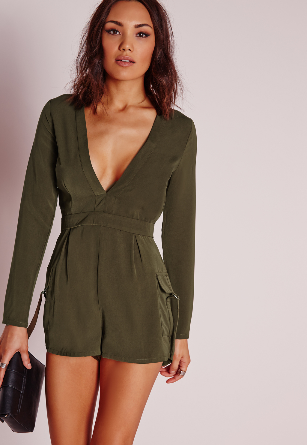 Pocket Short Plunge Playsuit Khaki, Beige - neckline: v-neck; pattern: plain; waist detail: fitted waist; length: short shorts; predominant colour: khaki; occasions: casual; fit: body skimming; fibres: polyester/polyamide - stretch; sleeve length: long sleeve; sleeve style: standard; style: playsuit; pattern type: fabric; texture group: woven light midweight; season: s/s 2016; wardrobe: highlight