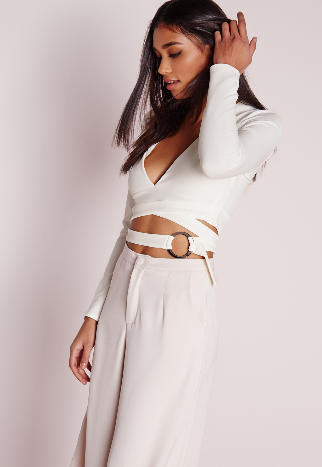 Tie Waist Crop Top White, White - neckline: low v-neck; pattern: plain; length: cropped; predominant colour: ivory/cream; occasions: evening; style: top; fibres: polyester/polyamide - stretch; fit: body skimming; sleeve length: long sleeve; sleeve style: standard; pattern type: fabric; texture group: jersey - stretchy/drapey; season: s/s 2016