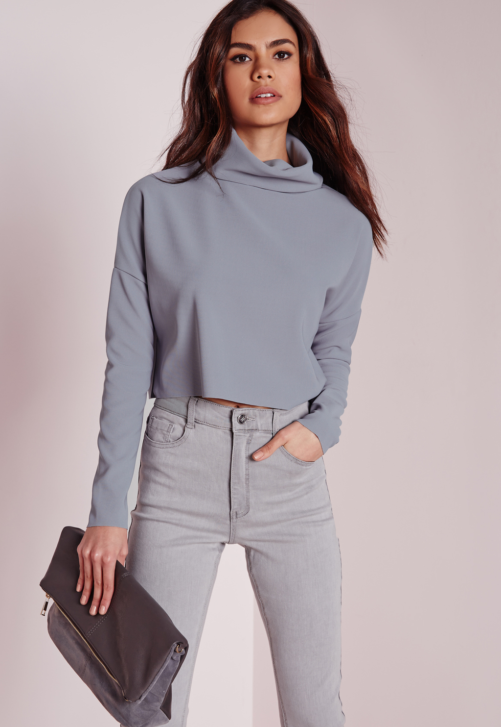 Roll Neck Otterman Rib Long Sleeve Crop Top Grey, Grey - neckline: round neck; pattern: plain; predominant colour: mid grey; occasions: casual, creative work; length: standard; style: top; fibres: polyester/polyamide - stretch; fit: body skimming; sleeve length: long sleeve; sleeve style: standard; pattern type: fabric; texture group: jersey - stretchy/drapey; season: s/s 2016; wardrobe: basic