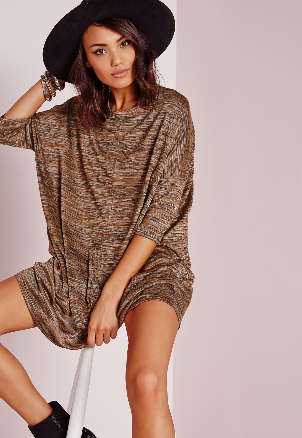 Oversized Slouchy T Shirt Dress Camel Marl, Beige - style: t-shirt; fit: loose; pattern: plain; predominant colour: camel; occasions: casual; length: just above the knee; fibres: polyester/polyamide - stretch; neckline: crew; sleeve length: 3/4 length; sleeve style: standard; pattern type: fabric; texture group: jersey - stretchy/drapey; season: s/s 2016