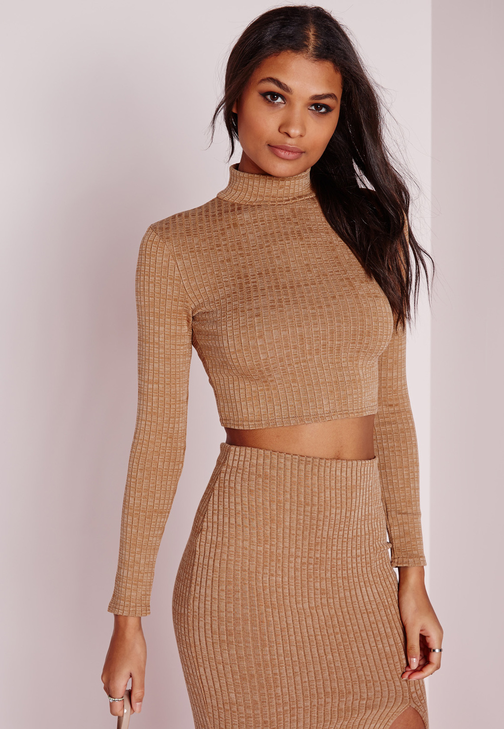 Turtle Neck Long Sleeve Jersey Crop Top Camel, Beige - pattern: plain; neckline: high neck; length: cropped; predominant colour: camel; occasions: casual, evening; style: top; fibres: cotton - mix; fit: body skimming; sleeve length: long sleeve; sleeve style: standard; pattern type: fabric; texture group: jersey - stretchy/drapey; season: s/s 2016