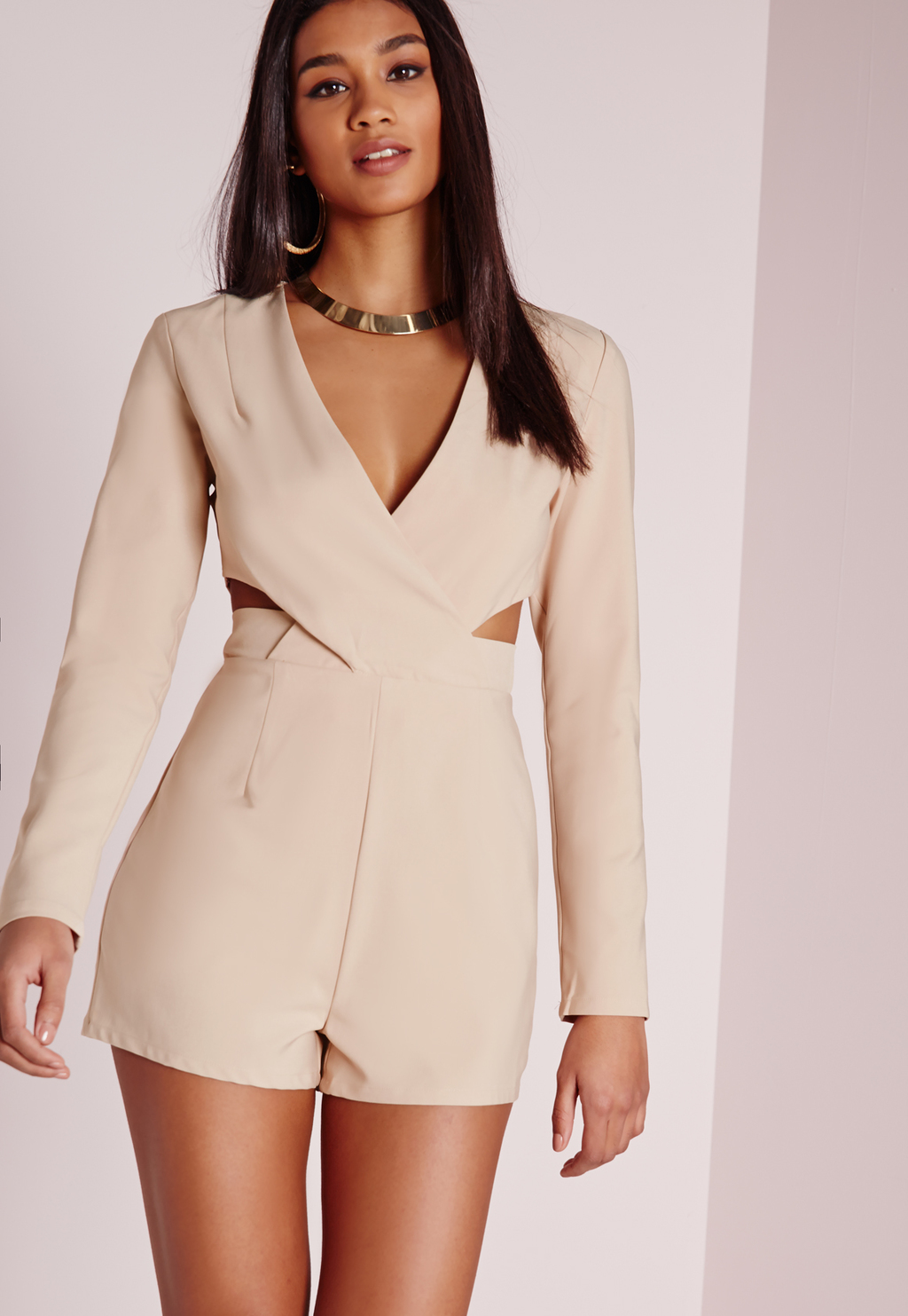 Cut Out Waist Wrap Playsuit Stone, Grey - neckline: low v-neck; pattern: plain; length: short shorts; predominant colour: nude; occasions: evening; fit: body skimming; fibres: polyester/polyamide - stretch; waist detail: cut out detail; sleeve length: long sleeve; sleeve style: standard; style: playsuit; pattern type: fabric; texture group: woven light midweight; season: s/s 2016; wardrobe: event