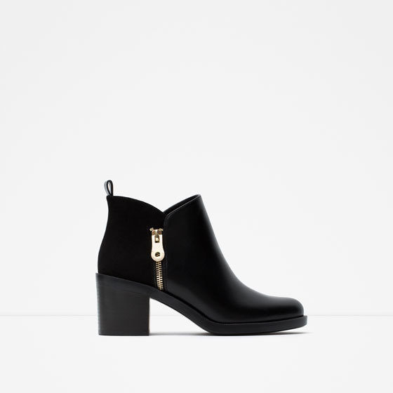 Combined Ankle Boots - predominant colour: black; occasions: casual; material: faux leather; heel height: mid; heel: block; toe: round toe; boot length: ankle boot; style: standard; finish: plain; pattern: plain; season: s/s 2016; wardrobe: basic