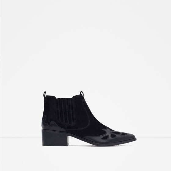 Block Heel Leather Cowboy Ankle Boots - predominant colour: black; occasions: casual, creative work; material: leather; heel height: flat; heel: block; toe: pointed toe; boot length: ankle boot; style: cowboy; finish: plain; pattern: plain; season: s/s 2016; wardrobe: basic