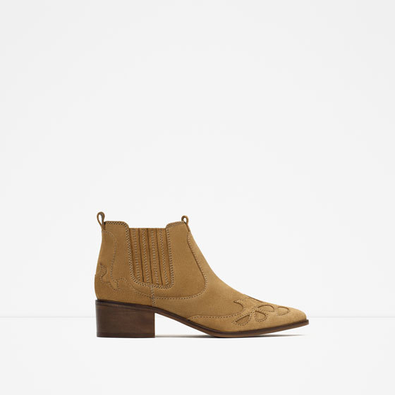 Block Heel Leather Cowboy Ankle Boots - predominant colour: tan; occasions: casual; material: leather; heel height: flat; heel: block; toe: pointed toe; boot length: ankle boot; style: cowboy; finish: plain; pattern: plain; season: s/s 2016; wardrobe: highlight