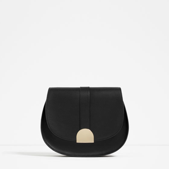 Messenger Bag With Metal Fastening - predominant colour: black; occasions: casual; type of pattern: standard; style: messenger; length: across body/long; size: standard; material: faux leather; pattern: plain; finish: plain; embellishment: chain/metal; season: s/s 2016; wardrobe: highlight