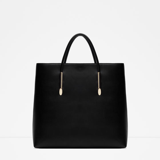 Rigid Tote - predominant colour: black; occasions: casual, creative work; type of pattern: standard; style: tote; length: handle; size: standard; material: faux leather; pattern: plain; finish: plain; season: s/s 2016; wardrobe: investment