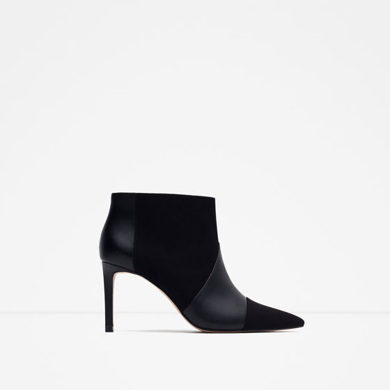 Ankle Boots With Stiletto Heel - predominant colour: black; material: faux leather; heel height: high; heel: stiletto; toe: pointed toe; boot length: ankle boot; style: standard; finish: plain; pattern: plain; occasions: creative work; season: s/s 2016; wardrobe: highlight