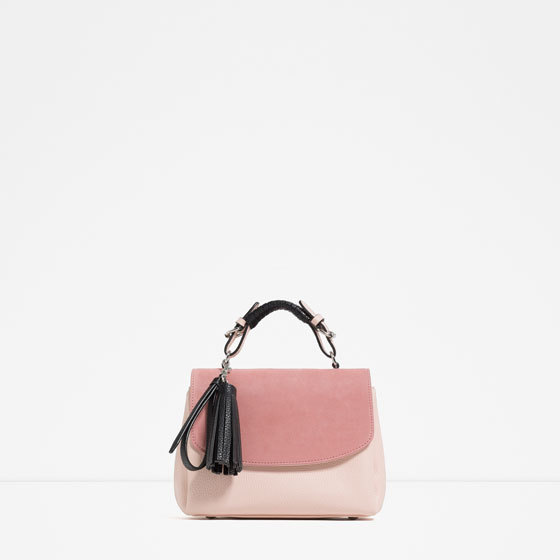 Contrast Material City Bag - predominant colour: pink; secondary colour: blush; occasions: casual, creative work; type of pattern: standard; style: structured bag; length: handle; size: standard; material: faux leather; embellishment: tassels; finish: plain; pattern: colourblock; season: s/s 2016; wardrobe: highlight