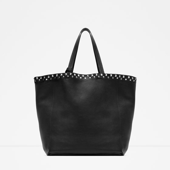 Studded Leather Tote - predominant colour: black; occasions: casual, creative work; type of pattern: standard; style: tote; length: shoulder (tucks under arm); size: oversized; material: leather; embellishment: studs; pattern: plain; finish: plain; season: s/s 2016