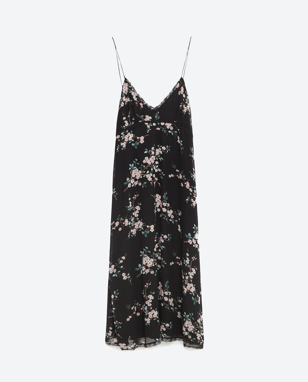 Floral Camisole Dress - neckline: low v-neck; sleeve style: spaghetti straps; secondary colour: pink; predominant colour: black; occasions: casual, evening; length: on the knee; fit: straight cut; style: slip dress; fibres: polyester/polyamide - 100%; sleeve length: sleeveless; pattern type: fabric; pattern size: standard; pattern: florals; texture group: woven light midweight; season: s/s 2016; wardrobe: highlight