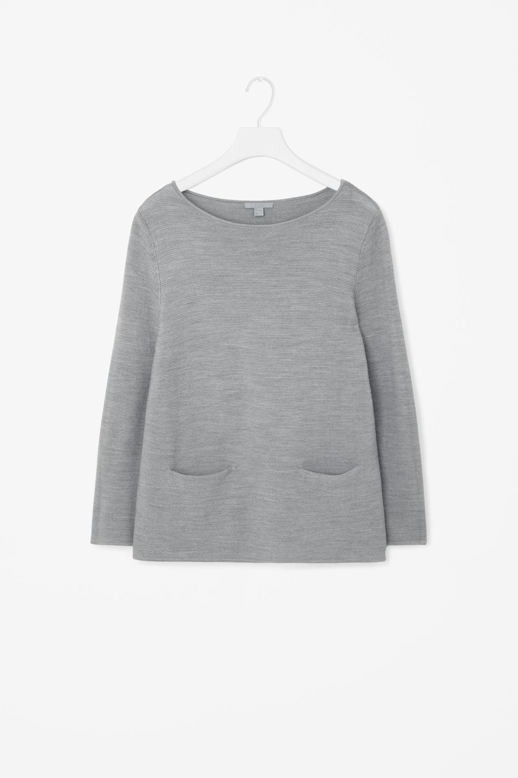 A Line Wool Jumper - neckline: round neck; pattern: plain; length: below the bottom; hip detail: front pockets at hip; style: standard; predominant colour: mid grey; occasions: casual; fibres: wool - 100%; fit: slim fit; sleeve length: long sleeve; sleeve style: standard; texture group: knits/crochet; pattern type: fabric; season: s/s 2016