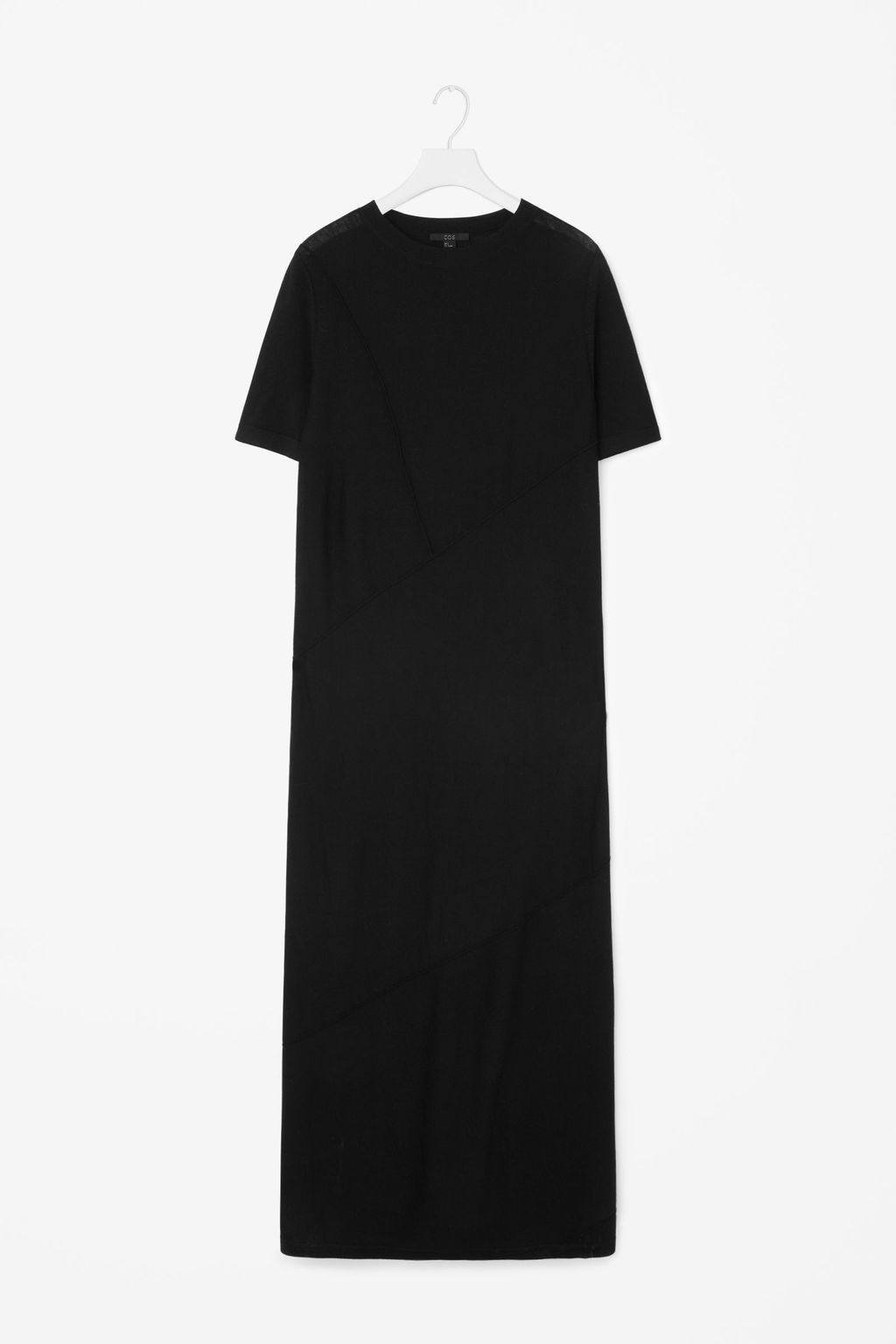 Contrast Seam Dress - pattern: plain; style: maxi dress; length: ankle length; predominant colour: black; occasions: casual; fit: straight cut; fibres: wool - 100%; neckline: crew; sleeve length: short sleeve; sleeve style: standard; pattern type: fabric; texture group: woven light midweight; season: s/s 2016