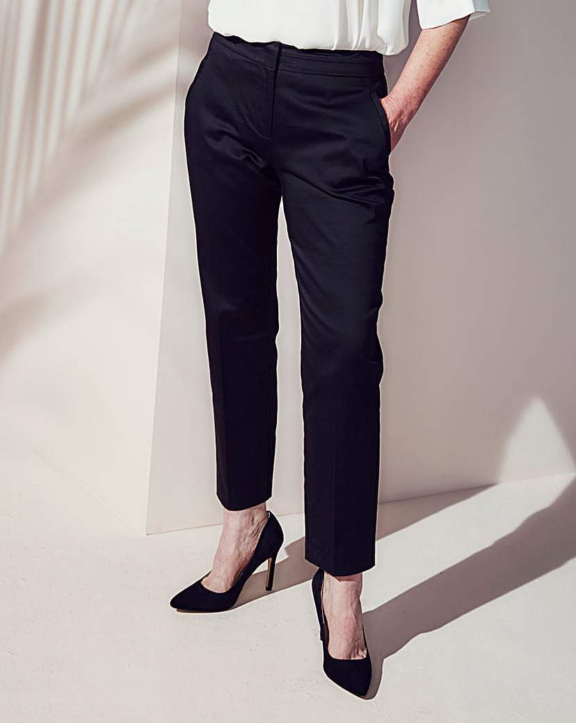 Cotton Sateen Ankle Grazer Trouser Reg - pattern: plain; waist: mid/regular rise; predominant colour: navy; occasions: evening, creative work; length: ankle length; fibres: polyester/polyamide - 100%; texture group: structured shiny - satin/tafetta/silk etc.; fit: slim leg; pattern type: fabric; style: standard; season: s/s 2016; wardrobe: basic
