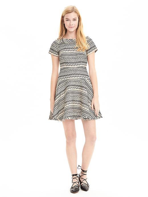 Print Jacquard Fit And Flare Dress Black And White - length: mid thigh; neckline: round neck; secondary colour: light grey; predominant colour: black; fit: fitted at waist & bust; style: fit & flare; fibres: cotton - mix; hip detail: subtle/flattering hip detail; sleeve length: short sleeve; sleeve style: standard; pattern type: fabric; pattern: patterned/print; texture group: jersey - stretchy/drapey; occasions: creative work; season: s/s 2016; wardrobe: highlight