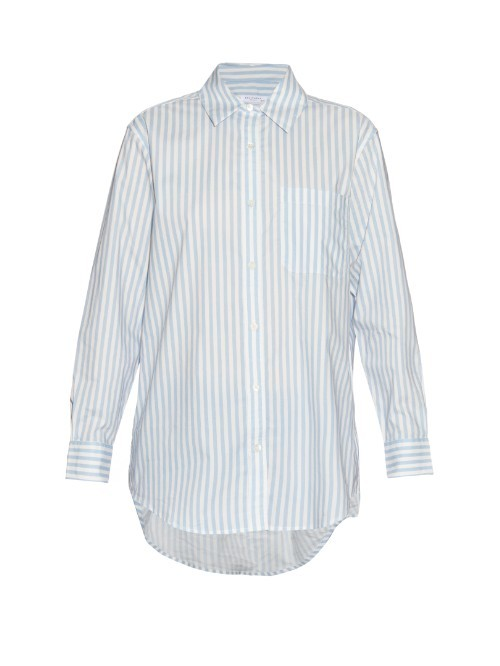 Daddy Striped Cotton Shirt - neckline: shirt collar/peter pan/zip with opening; pattern: vertical stripes; length: below the bottom; style: shirt; predominant colour: pale blue; secondary colour: mid grey; occasions: casual, creative work; fibres: cotton - 100%; fit: body skimming; sleeve length: long sleeve; sleeve style: standard; pattern type: fabric; pattern size: light/subtle; texture group: other - light to midweight; season: s/s 2016; wardrobe: highlight