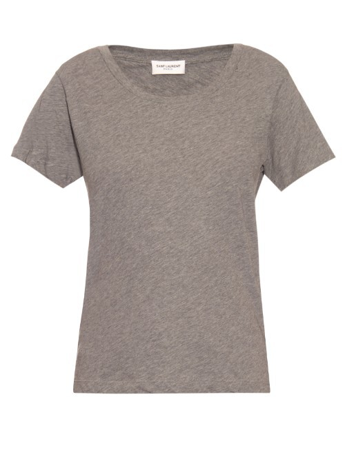 Distressed Cotton Jersey T Shirt - pattern: plain; style: t-shirt; predominant colour: mid grey; occasions: casual; length: standard; fibres: cotton - 100%; fit: body skimming; neckline: crew; sleeve length: short sleeve; sleeve style: standard; pattern type: fabric; texture group: jersey - stretchy/drapey; season: s/s 2016; wardrobe: basic
