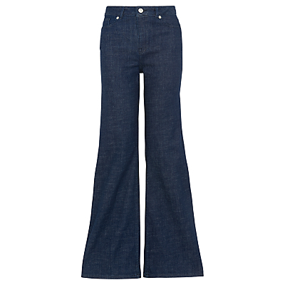 Wide Flared Jeans, Denim - style: flares; length: standard; pattern: plain; waist: high rise; predominant colour: navy; occasions: casual, creative work; fibres: cotton - stretch; texture group: denim; pattern type: fabric; season: s/s 2016; wardrobe: basic