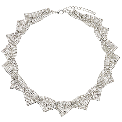 Twist Faux Pearl Statement Collar Necklace, Silver - predominant colour: silver; occasions: evening, occasion; style: choker/collar/torque; length: short; size: standard; material: chain/metal; finish: metallic; embellishment: chain/metal; season: s/s 2016; wardrobe: event