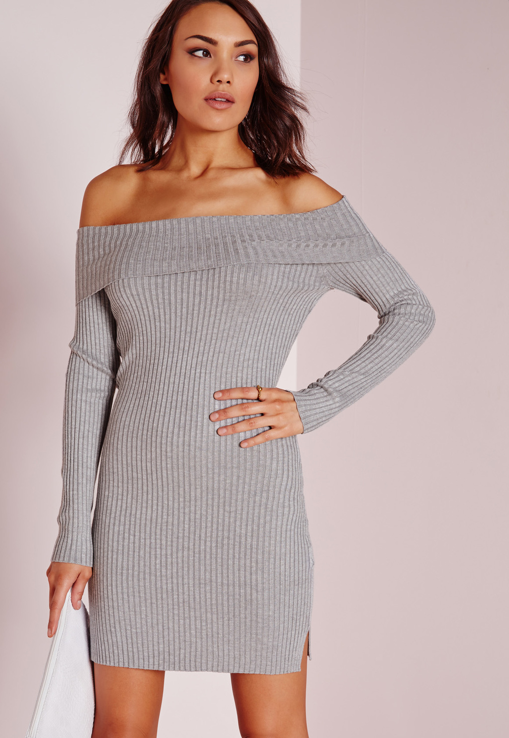 Bardot Mini Jumper Dress Grey, Grey - style: jumper dress; neckline: off the shoulder; pattern: plain; predominant colour: light grey; occasions: casual, creative work; length: just above the knee; fit: body skimming; fibres: viscose/rayon - 100%; sleeve length: long sleeve; sleeve style: standard; texture group: knits/crochet; pattern type: fabric; season: s/s 2016; wardrobe: highlight