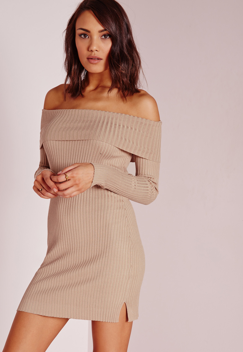 Bardot Mini Jumper Dress Camel, Beige - style: jumper dress; length: mid thigh; neckline: off the shoulder; pattern: plain; predominant colour: camel; secondary colour: camel; occasions: casual, creative work; fit: body skimming; fibres: viscose/rayon - 100%; sleeve length: long sleeve; sleeve style: standard; texture group: knits/crochet; pattern type: fabric; season: s/s 2016; wardrobe: highlight