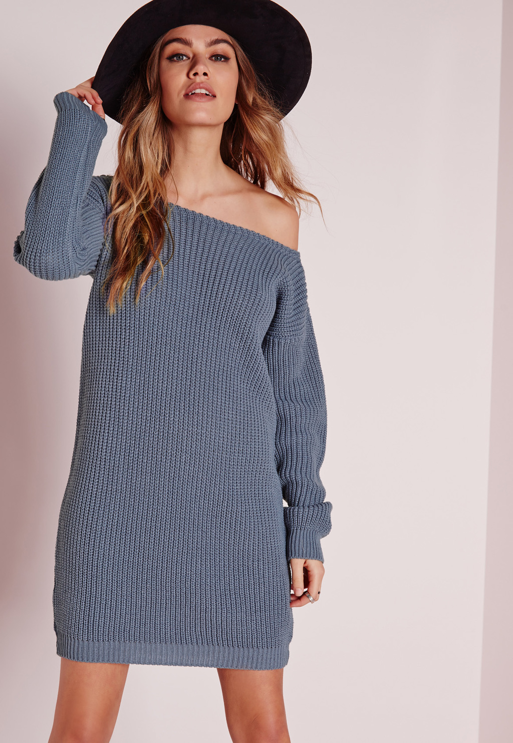 Off Shoulder Knitted Jumper Dress Blue, Blue - style: jumper dress; length: mid thigh; neckline: off the shoulder; pattern: plain; predominant colour: denim; occasions: casual, creative work; fit: straight cut; fibres: acrylic - 100%; sleeve length: long sleeve; sleeve style: standard; texture group: knits/crochet; pattern type: fabric; season: s/s 2016; wardrobe: highlight