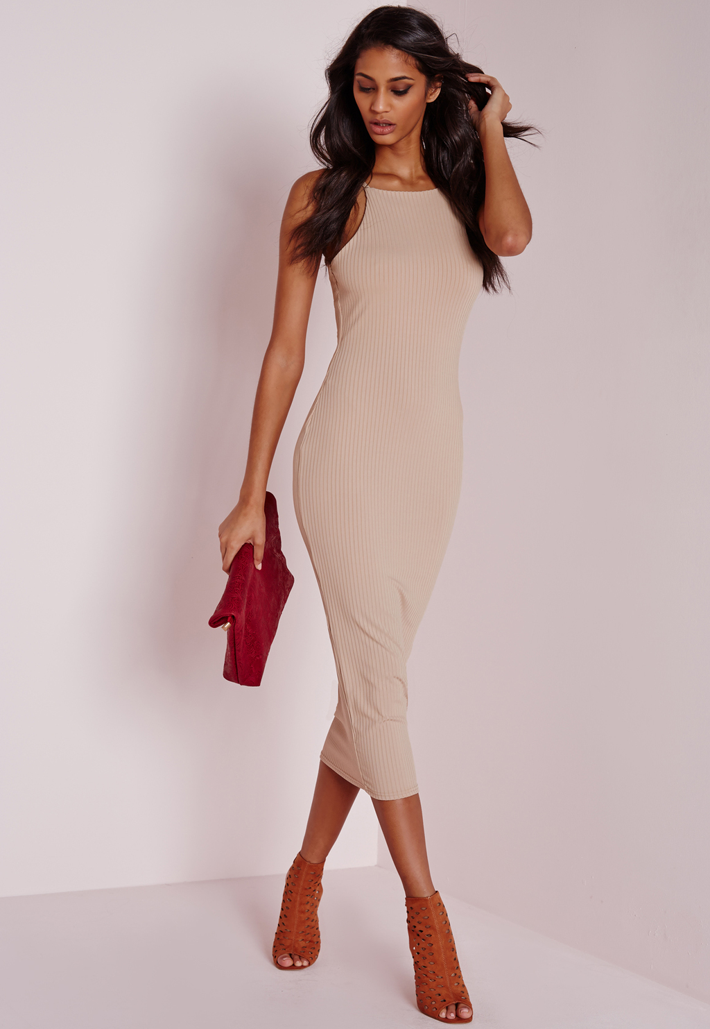 Ribbed Square Neck Midi Dress Camel, Beige - length: below the knee; neckline: round neck; fit: tight; pattern: plain; sleeve style: sleeveless; style: bodycon; predominant colour: camel; occasions: evening, occasion; fibres: polyester/polyamide - stretch; sleeve length: sleeveless; pattern type: fabric; texture group: jersey - stretchy/drapey; season: s/s 2016