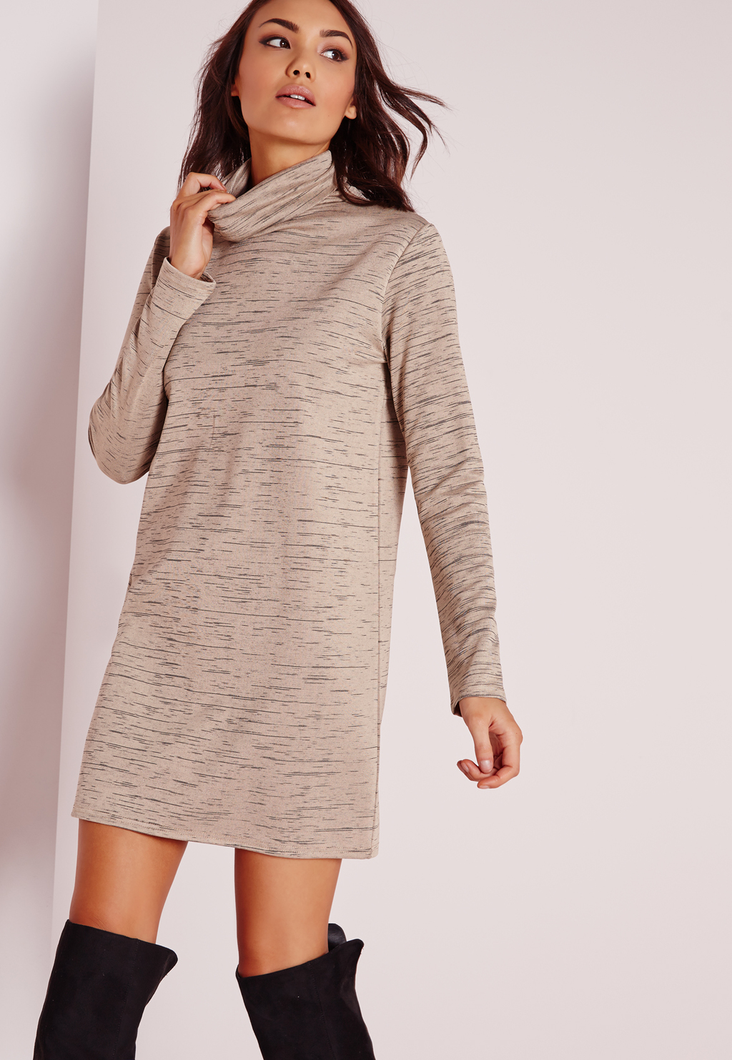 Long Sleeve Roll Neck Oversized Dress Nude, Grey - style: tunic; length: mid thigh; pattern: plain; neckline: roll neck; predominant colour: stone; occasions: casual; fit: body skimming; fibres: polyester/polyamide - stretch; sleeve length: long sleeve; sleeve style: standard; texture group: knits/crochet; pattern type: fabric; season: s/s 2016; wardrobe: basic