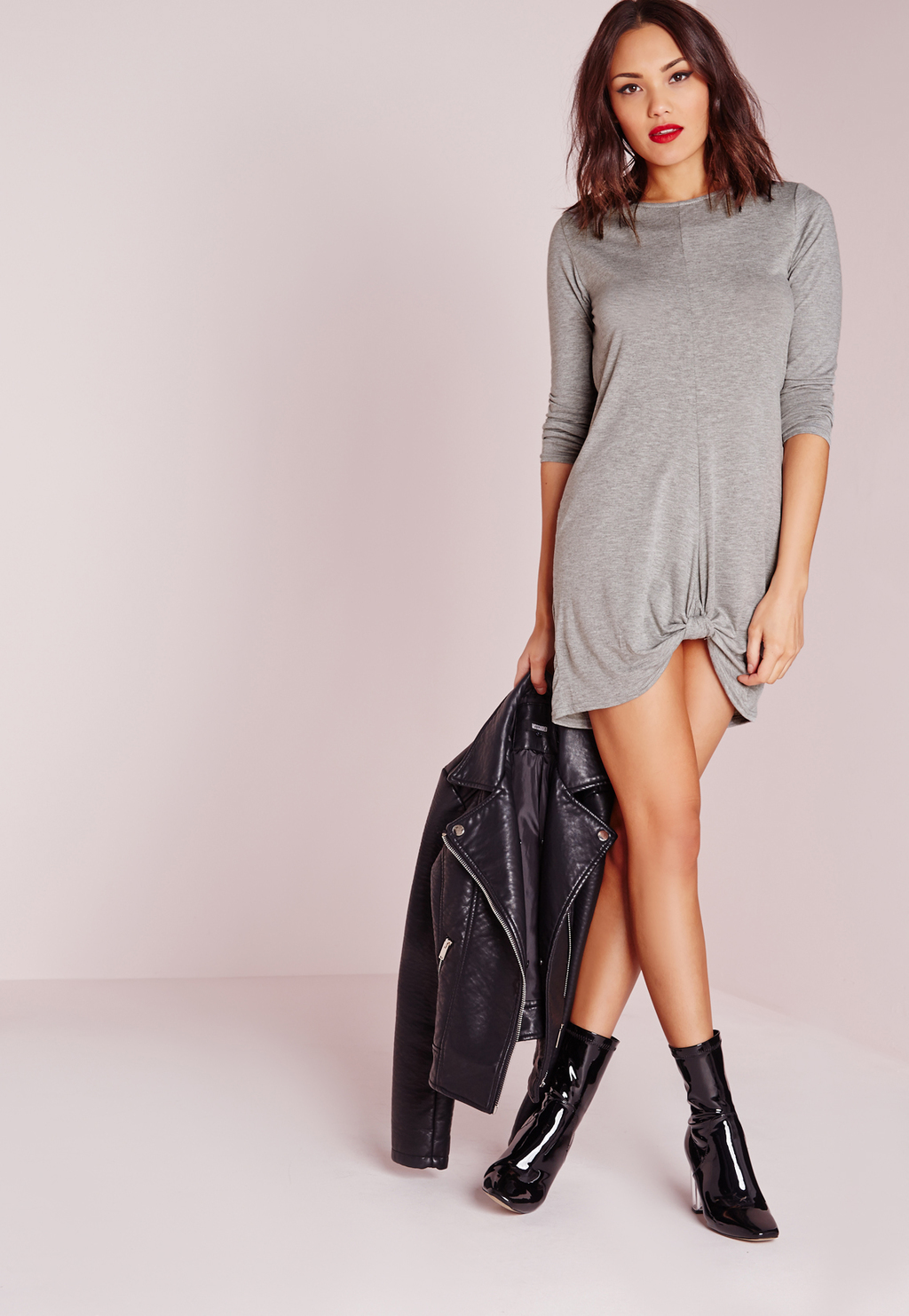 Knot Front Long Sleeve Dress Grey Marl, Grey - style: tunic; length: mini; pattern: plain; predominant colour: light grey; occasions: casual; fit: body skimming; fibres: polyester/polyamide - stretch; neckline: crew; back detail: longer hem at back than at front; sleeve length: 3/4 length; sleeve style: standard; pattern type: fabric; texture group: jersey - stretchy/drapey; season: s/s 2016; wardrobe: basic