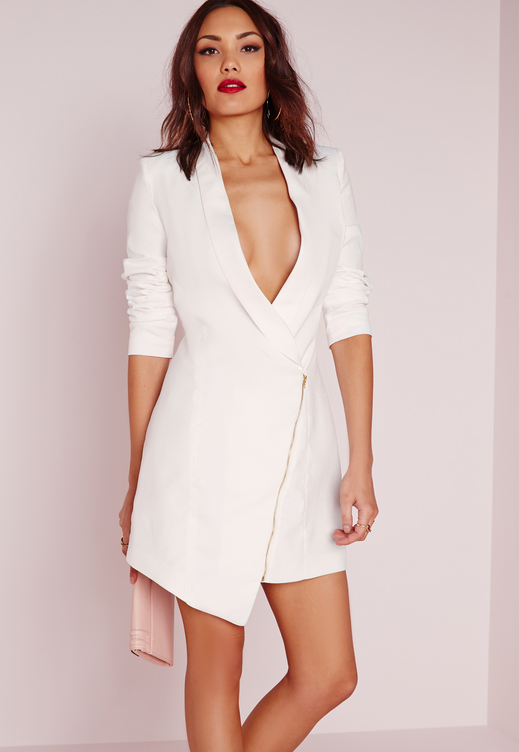 Long Sleeve Zip Detail Blazer Dress White, White - style: shift; length: mid thigh; neckline: plunge; fit: tailored/fitted; pattern: plain; predominant colour: white; occasions: evening; fibres: polyester/polyamide - 100%; sleeve length: 3/4 length; sleeve style: standard; pattern type: fabric; texture group: other - light to midweight; season: s/s 2016; wardrobe: event