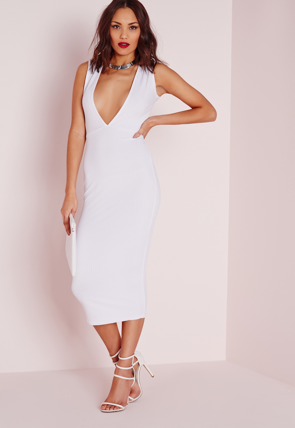 Plunge Ribbed Midi Dress White, White - length: calf length; neckline: plunge; fit: tight; pattern: plain; sleeve style: sleeveless; style: bodycon; hip detail: fitted at hip; predominant colour: white; occasions: evening; fibres: polyester/polyamide - stretch; sleeve length: sleeveless; texture group: jersey - clingy; pattern type: fabric; season: s/s 2016; wardrobe: event