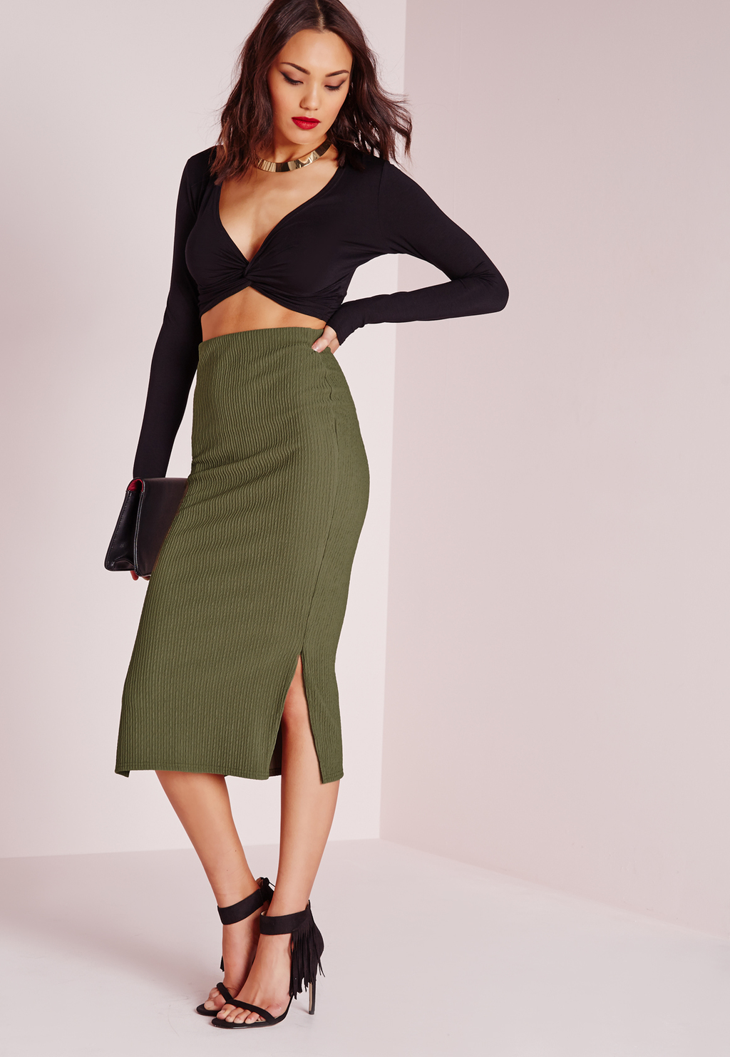 Textured Side Split Longline Midi Skirt Khaki, Beige - length: below the knee; pattern: plain; style: pencil; fit: tight; waist: high rise; hip detail: draws attention to hips; predominant colour: khaki; occasions: evening, creative work; fibres: polyester/polyamide - 100%; texture group: jersey - clingy; pattern type: fabric; season: s/s 2016; wardrobe: basic