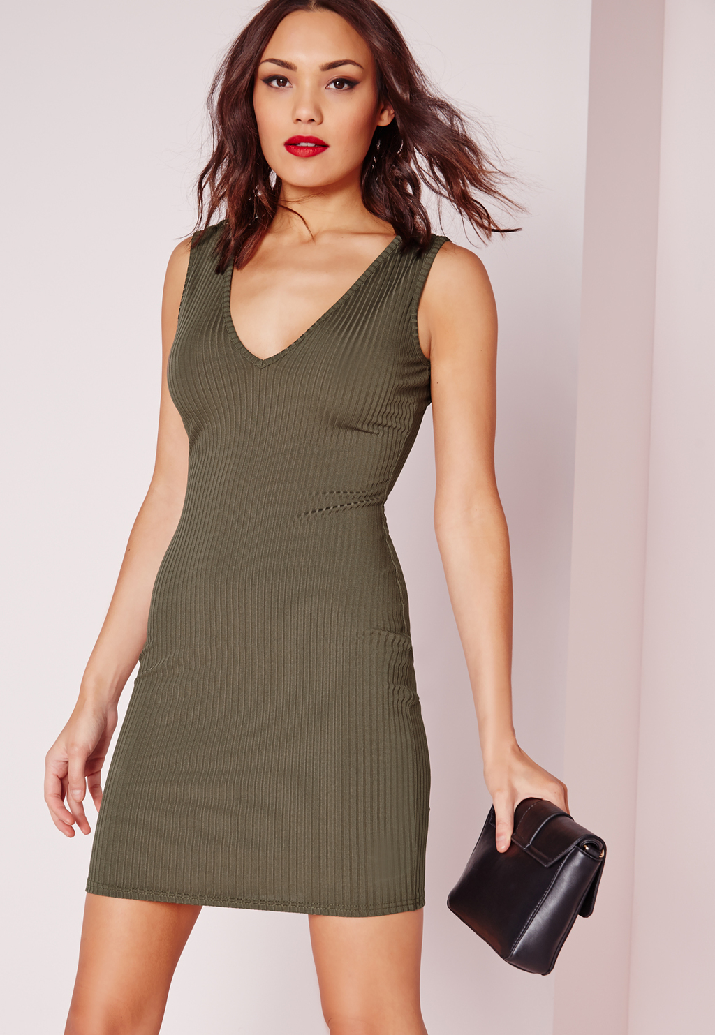 Ribbed Sleeveless Plunge Bodycon Dress Khaki, Beige - length: mid thigh; neckline: low v-neck; fit: tight; pattern: plain; sleeve style: sleeveless; style: bodycon; predominant colour: khaki; occasions: evening; fibres: viscose/rayon - stretch; sleeve length: sleeveless; texture group: jersey - clingy; pattern type: fabric; season: s/s 2016; wardrobe: event