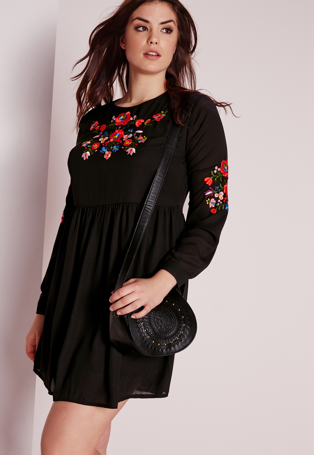 Plus Size Embroidery Dress Black, Black - style: smock; length: mid thigh; fit: loose; predominant colour: black; occasions: casual, creative work; fibres: cotton - stretch; neckline: crew; sleeve length: long sleeve; sleeve style: standard; texture group: sheer fabrics/chiffon/organza etc.; pattern type: fabric; pattern size: standard; pattern: florals; embellishment: embroidered; multicoloured: multicoloured; season: s/s 2016; wardrobe: highlight; embellishment location: bust, sleeve/cuff