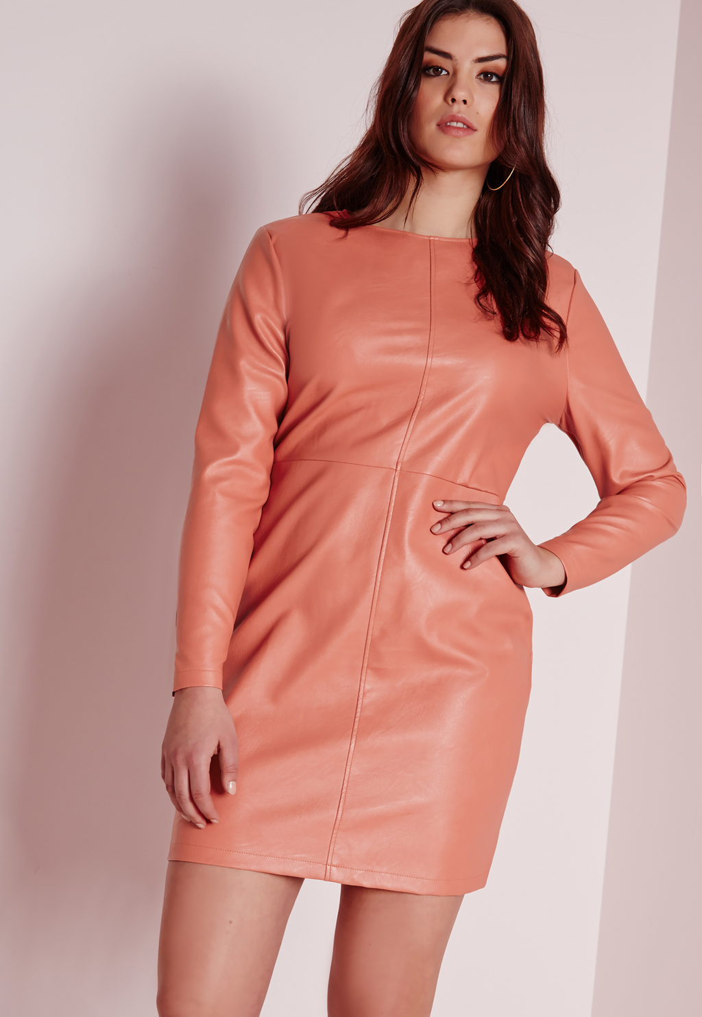 Plus Size Faux Leather Dress Pink, Salmon - style: shift; length: mini; pattern: plain; predominant colour: coral; occasions: evening; fit: body skimming; fibres: polyester/polyamide - 100%; neckline: crew; sleeve length: long sleeve; sleeve style: standard; pattern type: fabric; texture group: other - light to midweight; season: s/s 2016; wardrobe: event