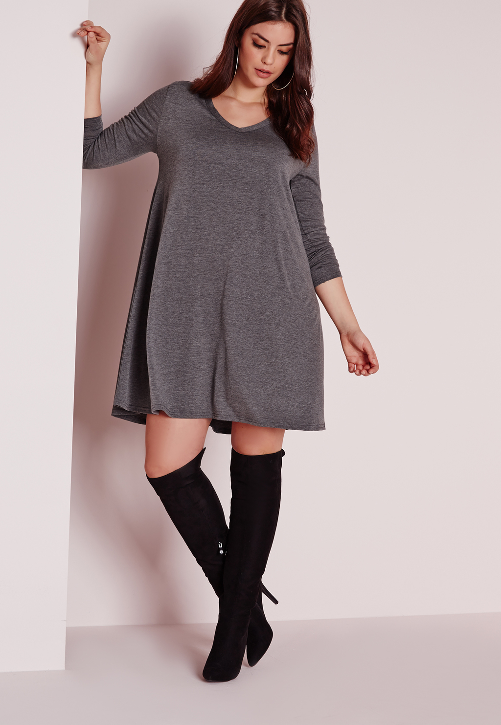 Plus Size V Neck Swing Dress Grey, Grey - style: trapeze; length: mid thigh; neckline: v-neck; fit: loose; pattern: plain; predominant colour: charcoal; occasions: casual, creative work; fibres: viscose/rayon - stretch; sleeve length: 3/4 length; sleeve style: standard; pattern type: fabric; texture group: other - light to midweight; season: s/s 2016; wardrobe: basic