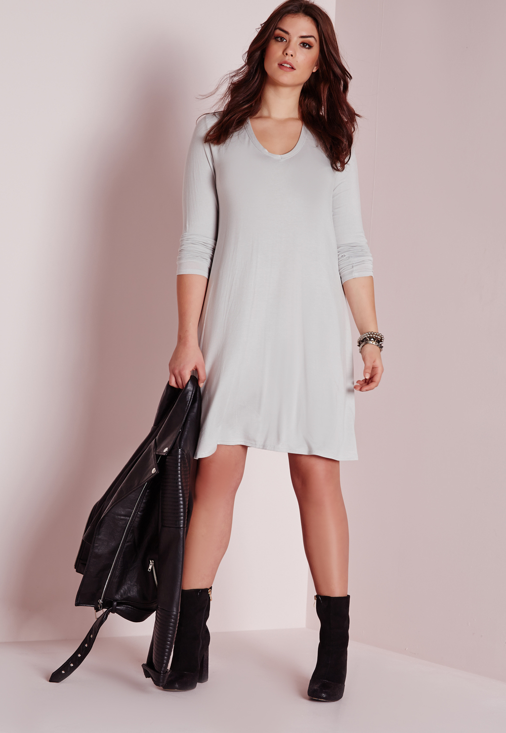 Plus Size V Neck Swing Dress Ice Grey, Grey - style: trapeze; neckline: v-neck; fit: loose; pattern: plain; predominant colour: light grey; occasions: casual, creative work; length: just above the knee; fibres: viscose/rayon - stretch; sleeve length: 3/4 length; sleeve style: standard; pattern type: fabric; texture group: jersey - stretchy/drapey; season: s/s 2016