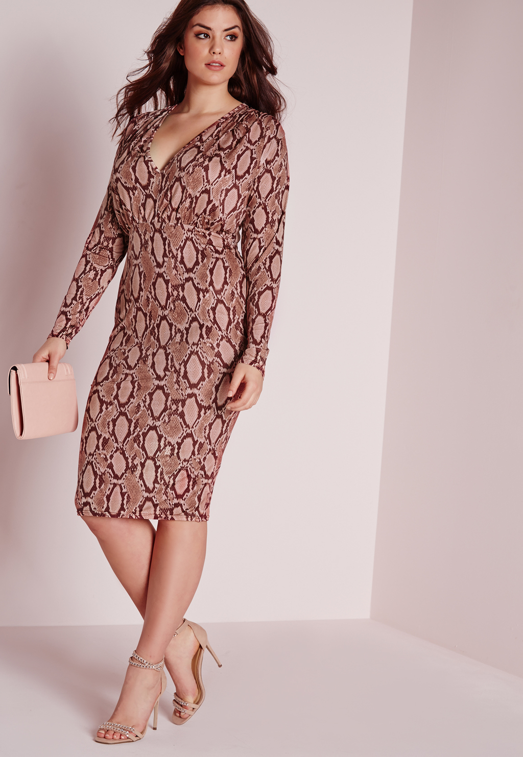 Plus Size Snake Print Plunge Dress Pink, Pink - style: faux wrap/wrap; length: below the knee; neckline: low v-neck; predominant colour: pink; secondary colour: nude; fit: body skimming; fibres: polyester/polyamide - 100%; occasions: occasion; sleeve length: long sleeve; sleeve style: standard; pattern type: fabric; pattern size: standard; pattern: animal print; texture group: jersey - stretchy/drapey; multicoloured: multicoloured; season: s/s 2016; wardrobe: event