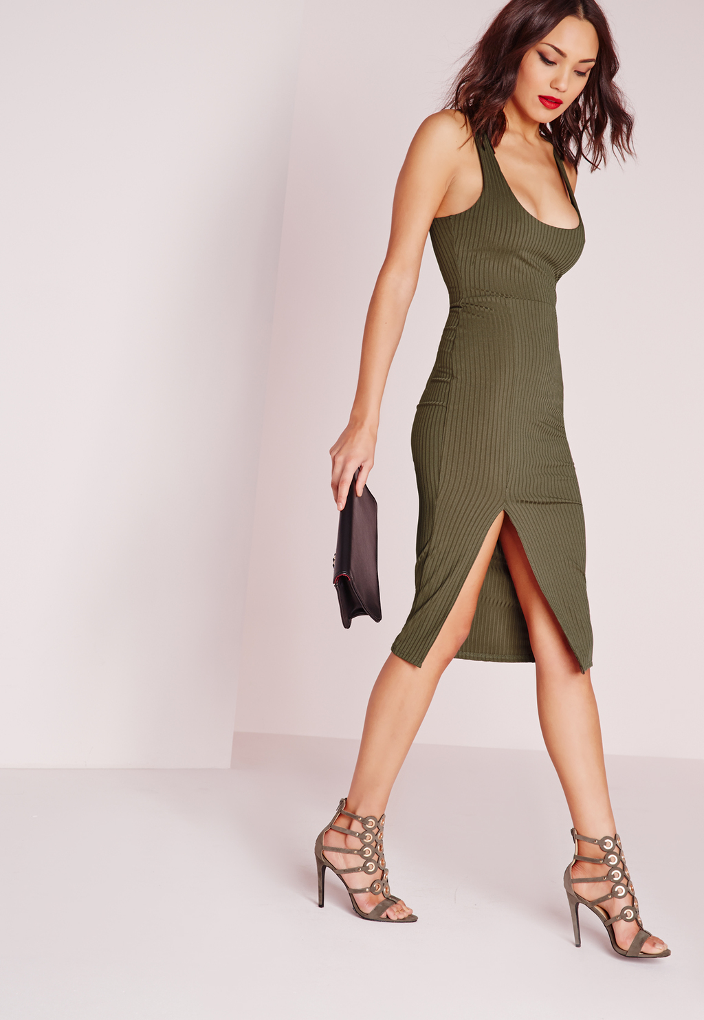 Ribbed Scoop Neck Midi Dress Khaki, Beige - fit: tight; pattern: plain; sleeve style: sleeveless; style: bodycon; predominant colour: khaki; occasions: evening; length: on the knee; neckline: scoop; fibres: polyester/polyamide - stretch; hip detail: slits at hip; sleeve length: sleeveless; texture group: jersey - clingy; pattern type: fabric; season: s/s 2016