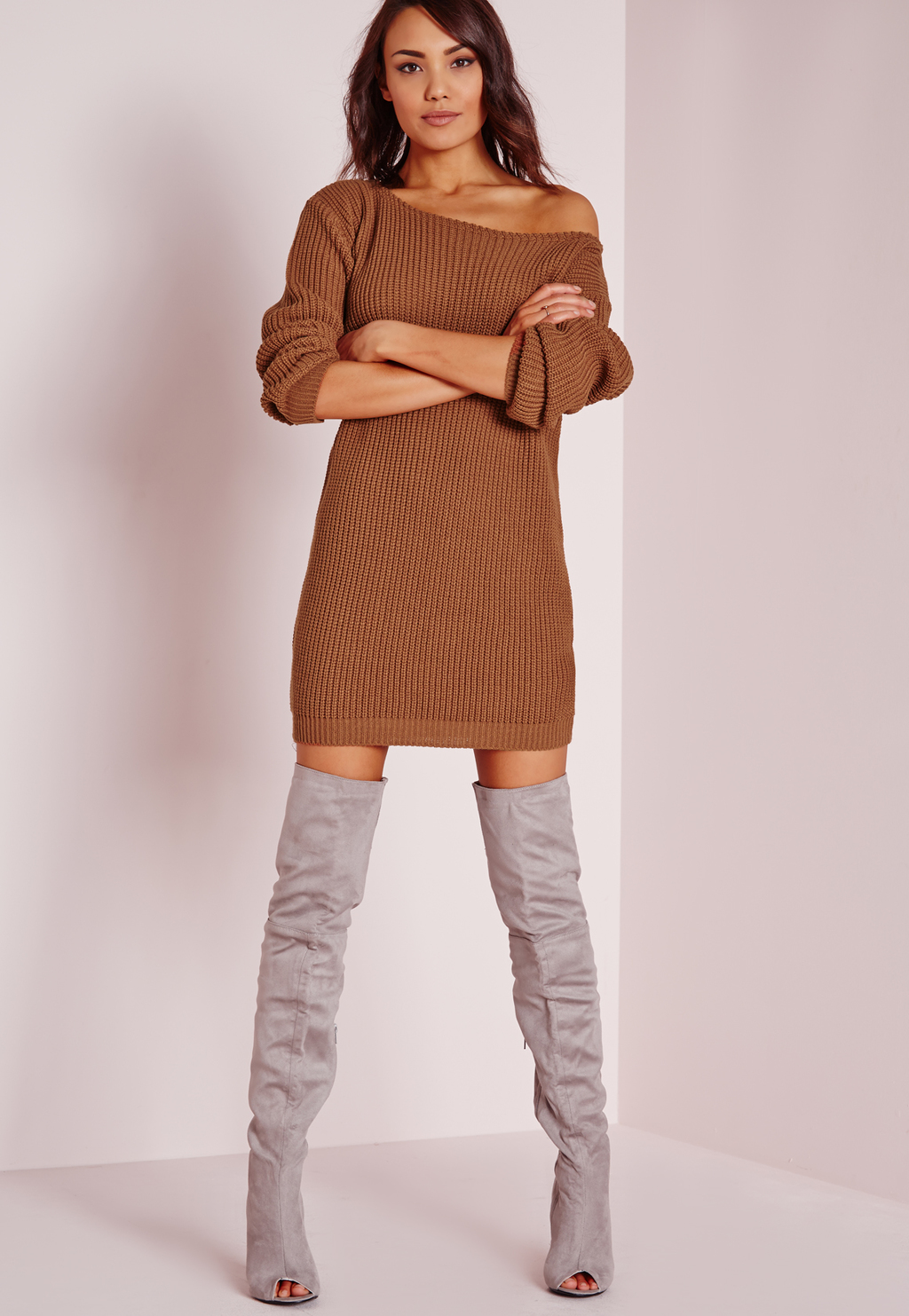 Off Shoulder Knitted Jumper Dress Brown, Tobacco - style: jumper dress; length: mid thigh; neckline: off the shoulder; pattern: plain; predominant colour: tan; occasions: evening; fit: body skimming; fibres: acrylic - 100%; sleeve length: long sleeve; sleeve style: standard; texture group: knits/crochet; pattern type: fabric; season: s/s 2016